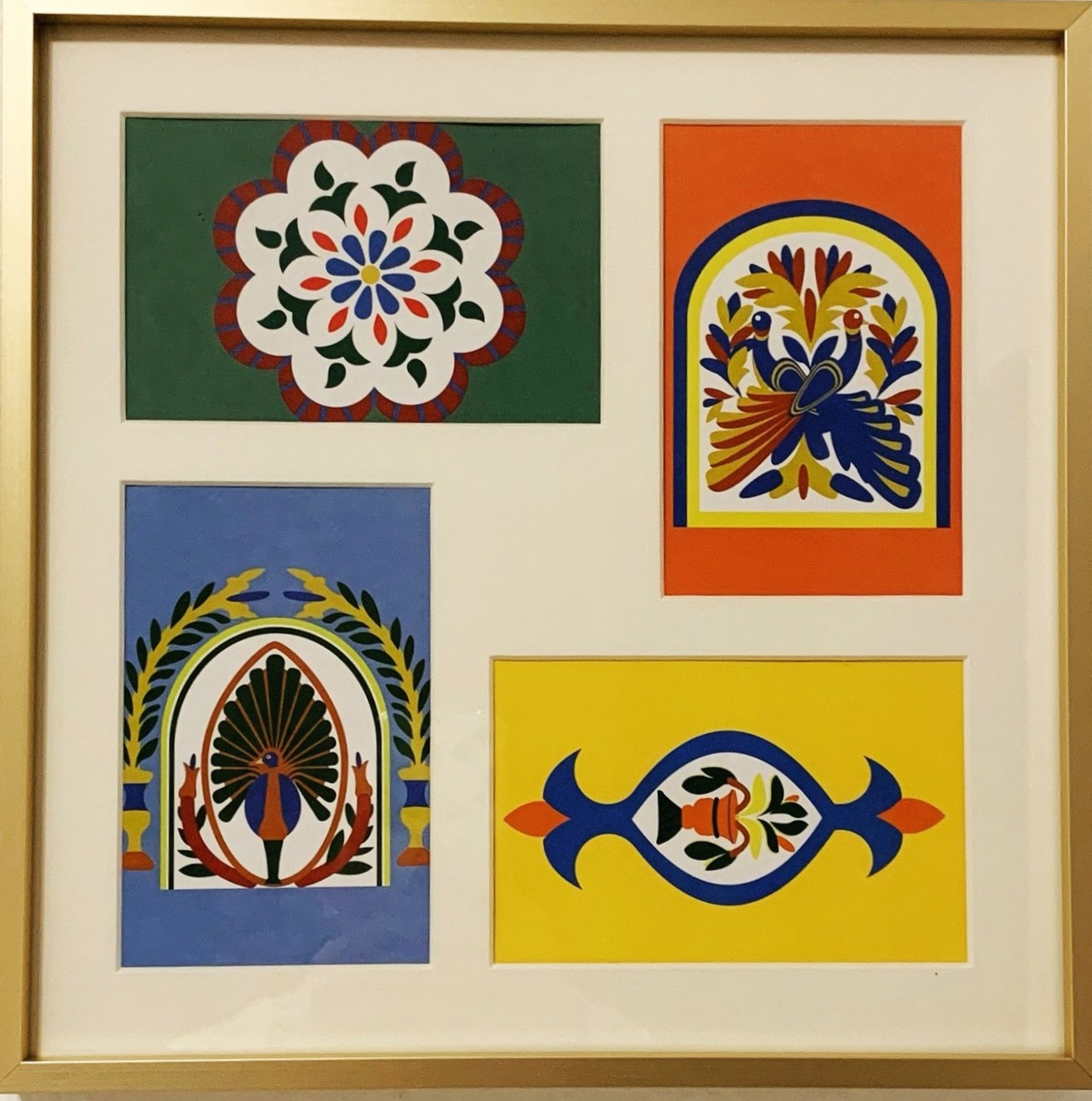 Decorative motif postcards in a collage frame.