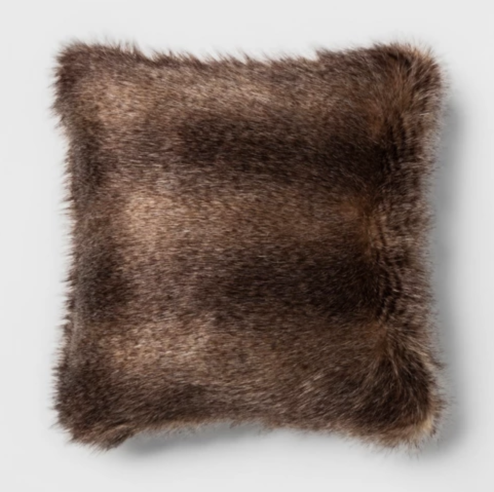 Long Striped Faux Fur Square Throw Pillow Brown.png