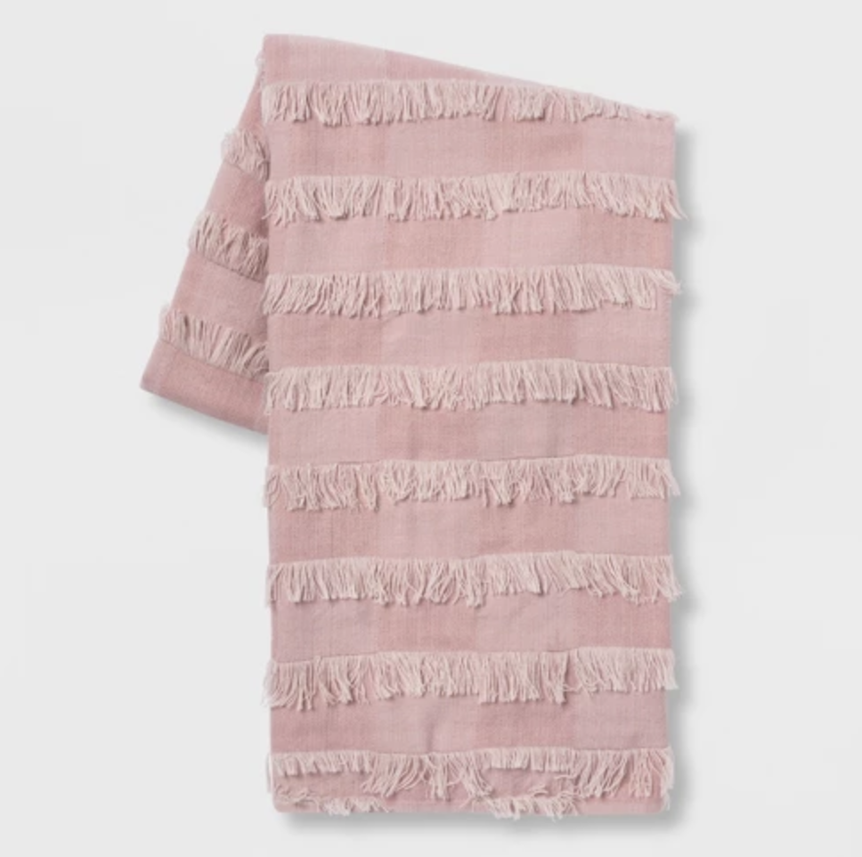 Pink Fringed Throw