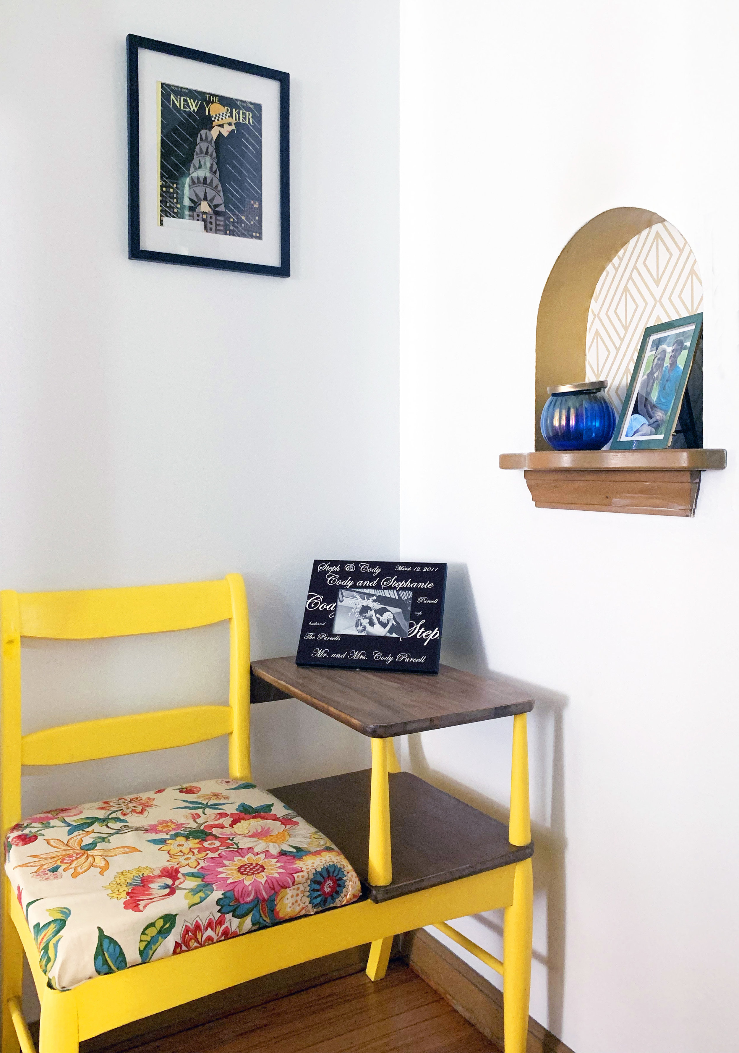 Leftover materials made the this former telephone nook a fun statement piece!