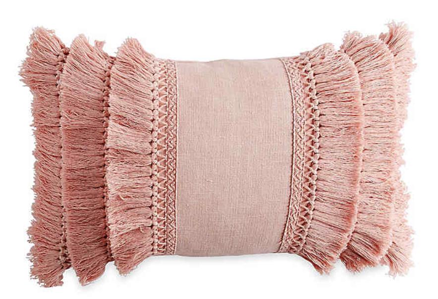Pink Fringe Pillow