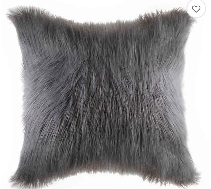 Grey Faux Fur Pillow
