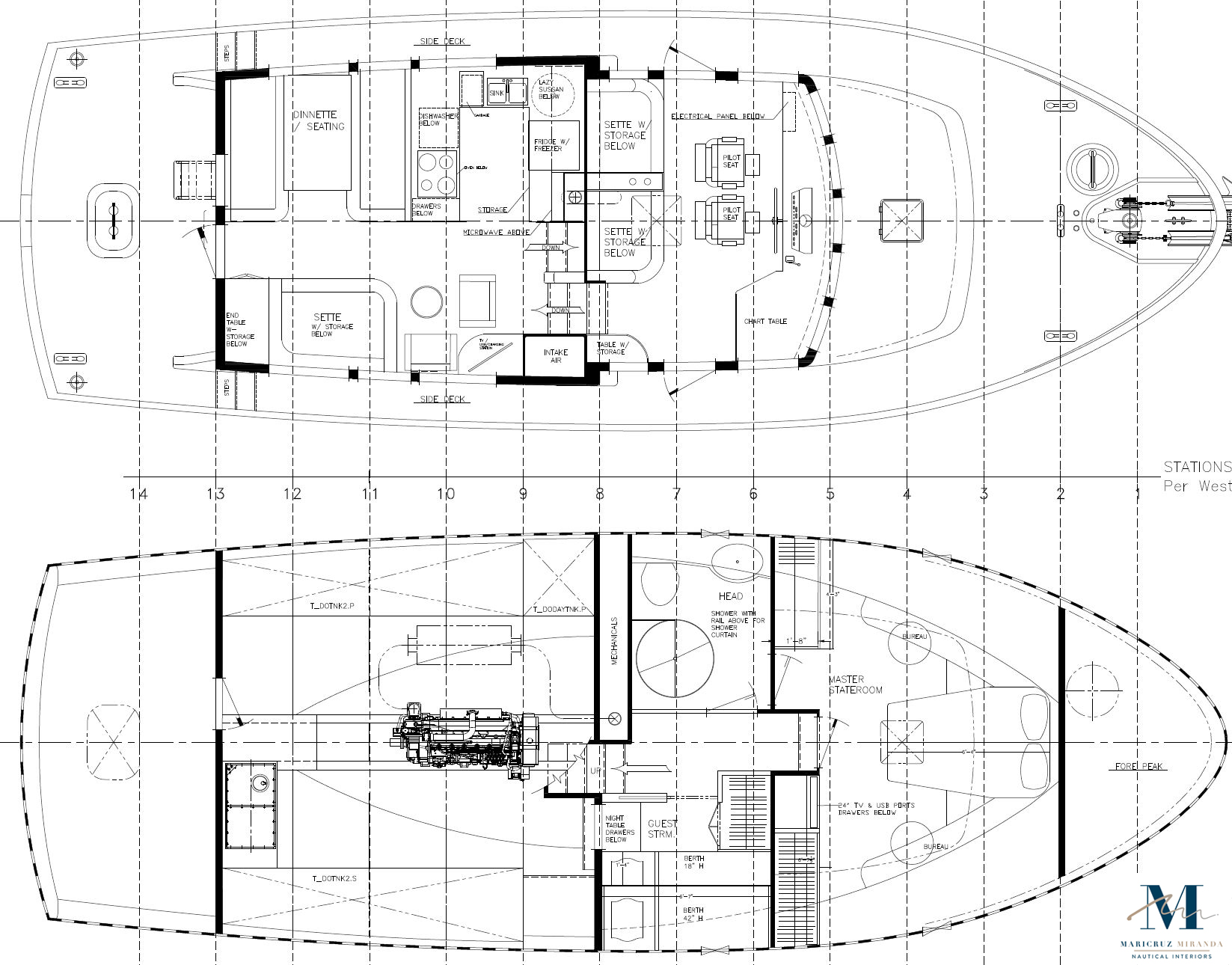 Floorplans for lower and upper decks