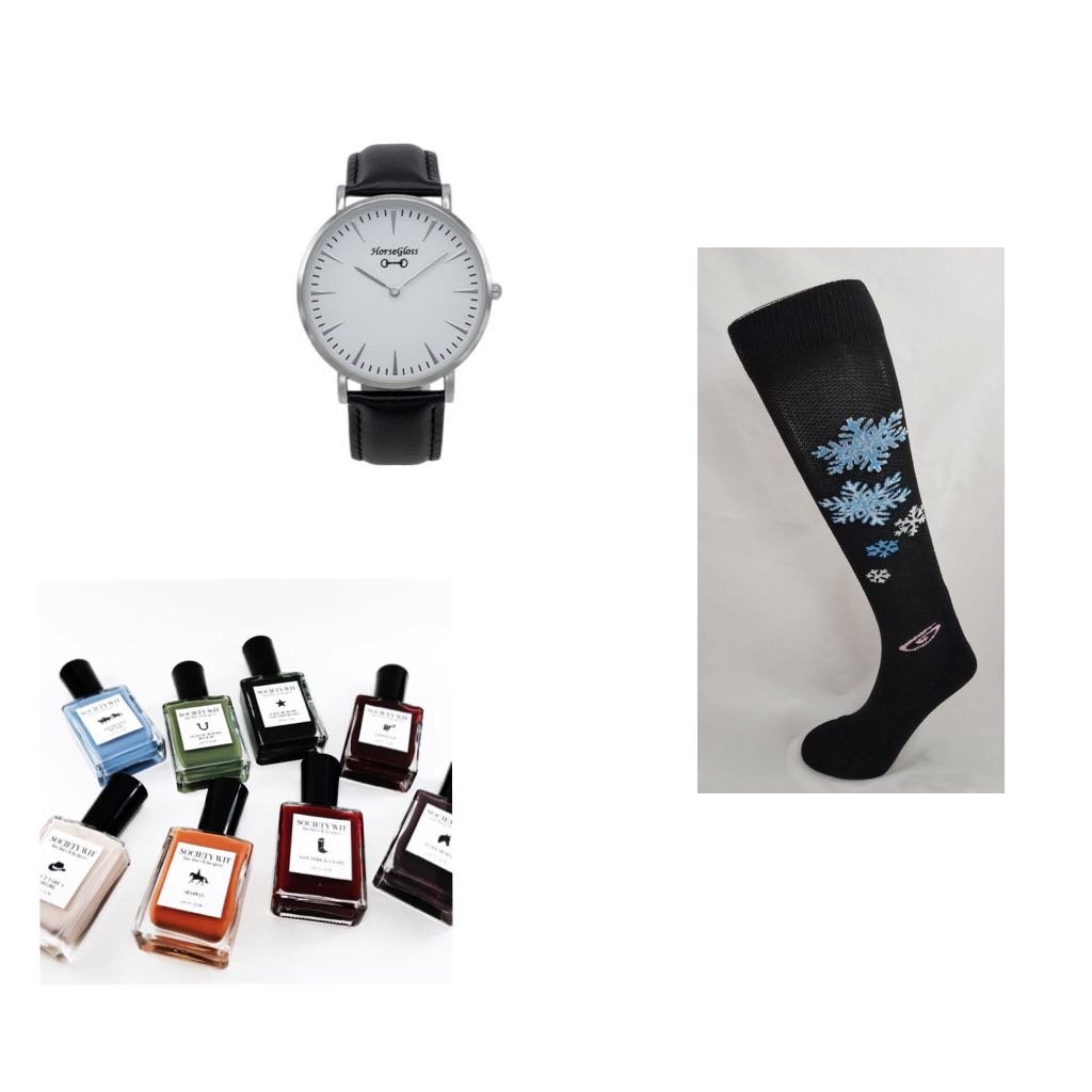 No outfit is complete without an accessory of some sort(socks included!). These snowflake Foot Huggies Riding Boot Socks are perfect for the winter season, yet thin enough to fit in your boots! A good watch is a must when it comes to completing a look. Loving this classic black and silver look from Horse Gloss. What about your nails? Surely they need to look good too! Society Wit has you covered with great yet reasonably priced nail lacquer in a variety of colors!     What are your top picks from these favorites?