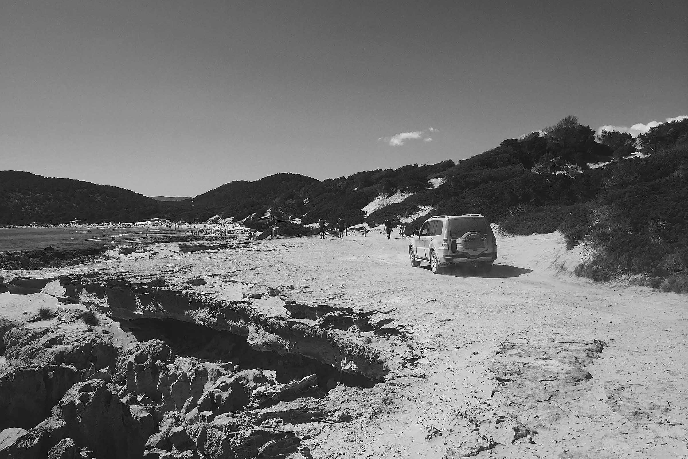 black and white ibiza beach 4x4