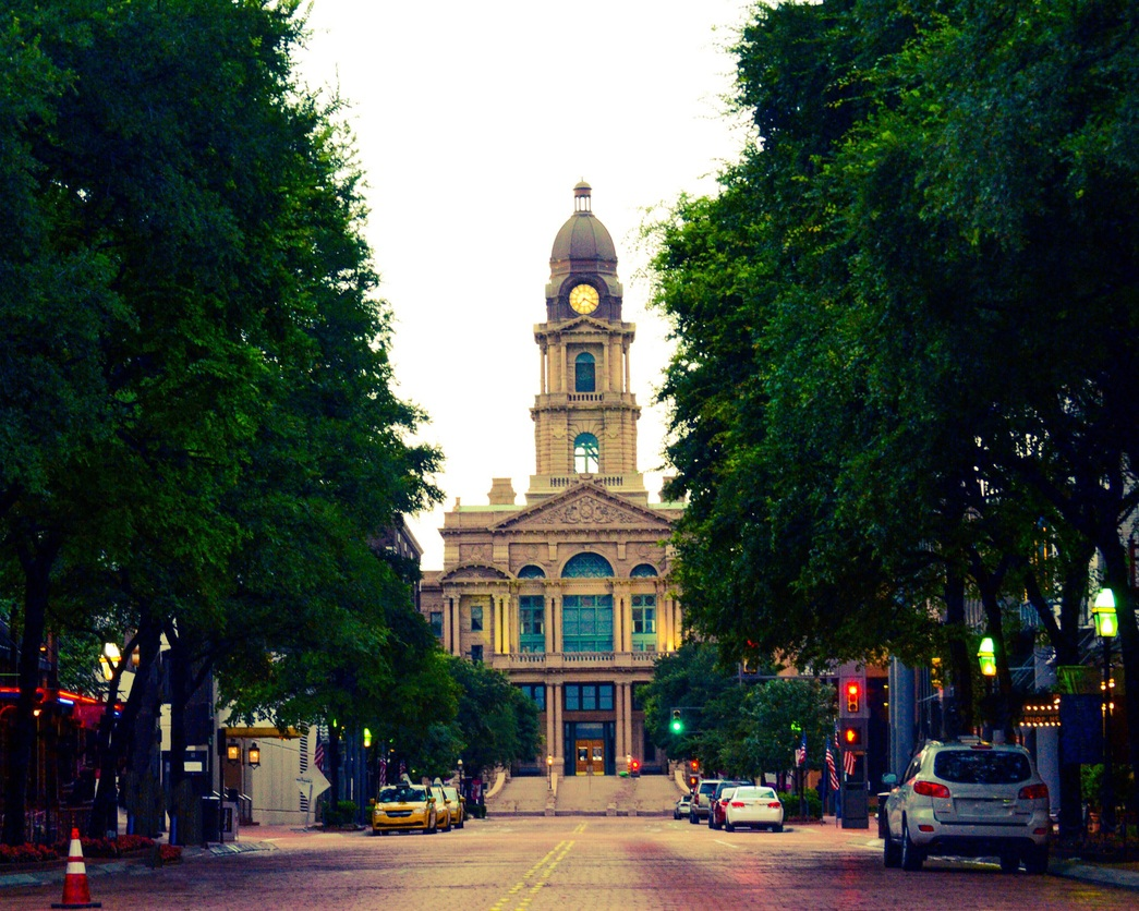 View of courthouse down Main Street in Fort Worth, Texas USA.
