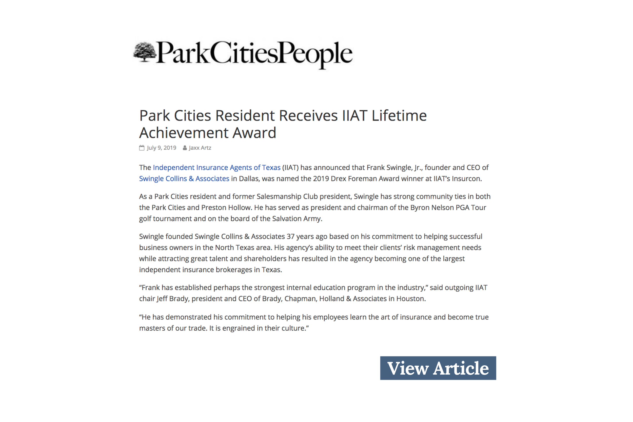 Park Cities Resident Receives IIAT Lifetime Achievement Award