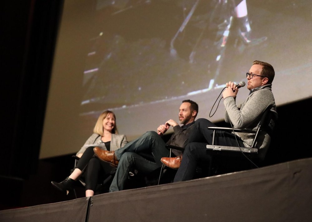 Grant Michael, Associate Producer (right), and Director, Rocky Walls (center), answer questions during an engaging Q&A hosted by author and journalist Rachel Giese (left) after a Hot Docs DocSoup screening in Toronto, Canada.