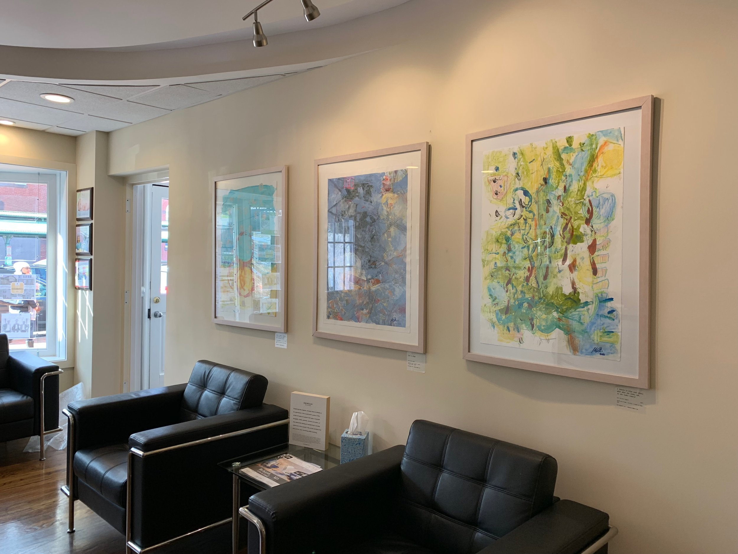 three of the 'encircled' series works in the lobby area of Remax on Capitol Hill