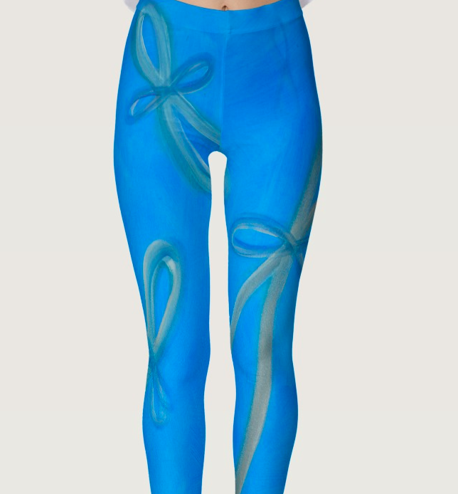 Blue infinity yoga pants'floating joy' -