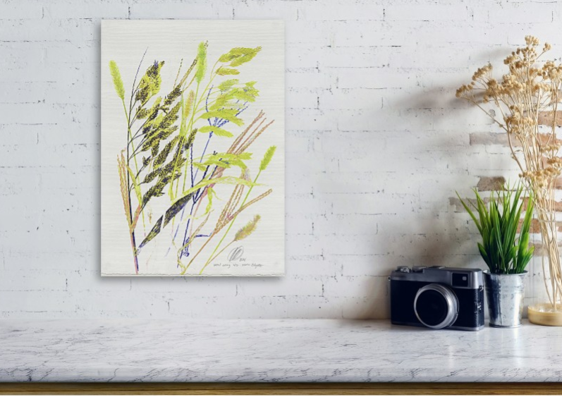 "'weed array' shown here on a ""wooden"" print by Karin Edgett"