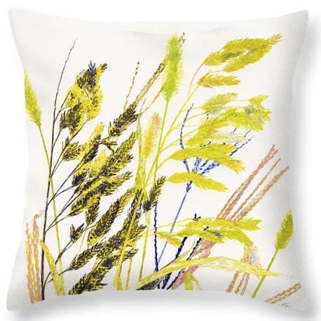 A throw pillow is one options for my 'weed array' print by Karin Edgett