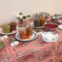 Array of salsa's and salsas from the class on fermenting salsas and sauces.