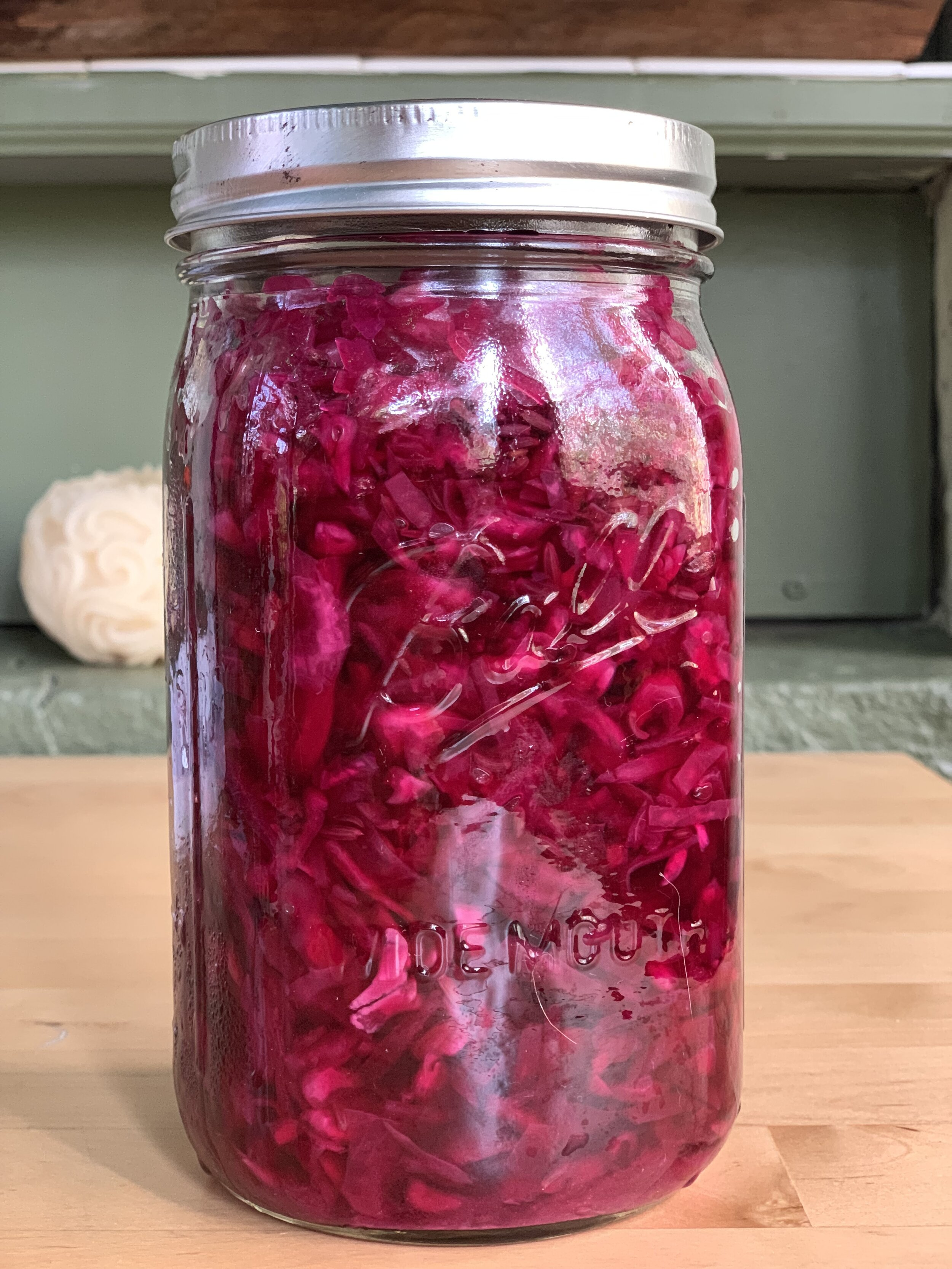 Karin, The sauerkraut is delicious! Everyone in my family raved about it. Thanks so much.Peter - Note from a private student learning to ferment sauerkraut. Shown is red sauerkraut with fennel for a slightly sweeter and fun color