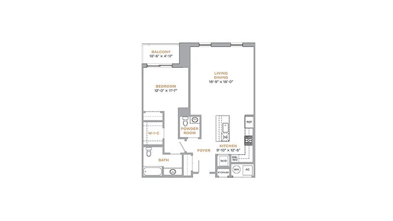 202 - 908 SF • 1 Bedroom • 1.5 Baths