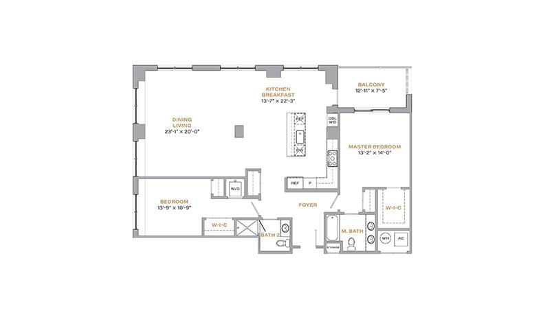 203 - 1,535 SF • 2 Bedrooms • 2 Baths