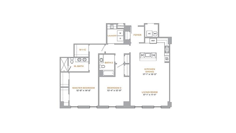 204 - 1,427 SF • 2 Bedrooms • 2 Baths