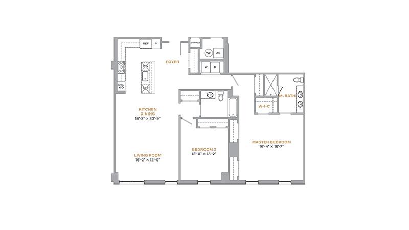 205 - 1,499 SF • 2 Bedrooms • 2 Baths