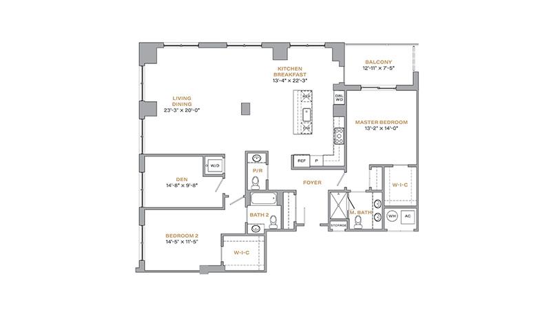 303 - 1,762 SF • 2 Bedrooms • Den • 2.5 Baths