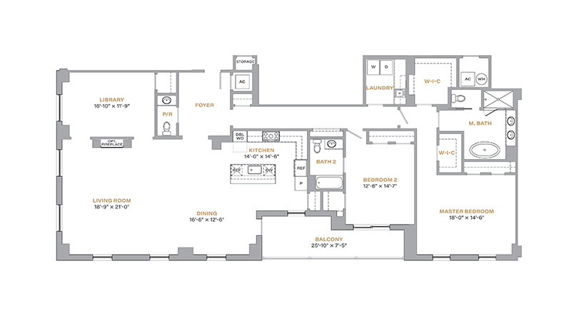 404 - 2,420 SF • 2 Bedrooms • Library • 2.5 Baths