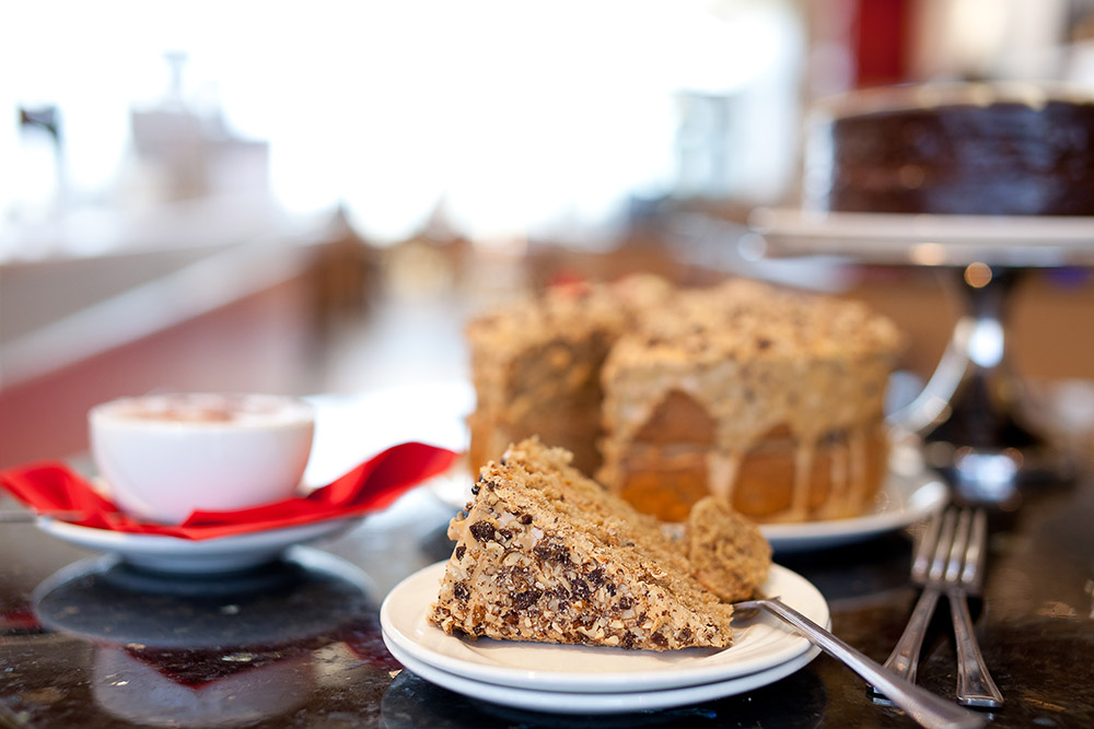 Treat yourself to Tea for 2, with cake for £9.75 - Any two regular size drinks plus any two slices from our homemade cakes or scones throughout the day.