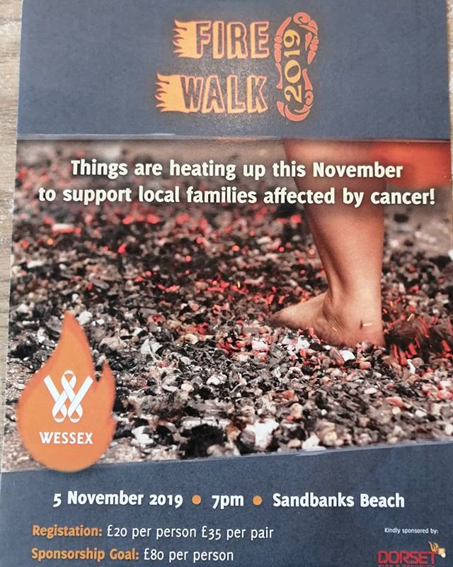 On 5th November there will be a fire walk outside the cafe. Come and show your support or if your brave enough you can sign up upself. The cafe will be open for food and drinks. #sandbanksbeachcafe #sandbanksbeach #wessexcancer #firewalk