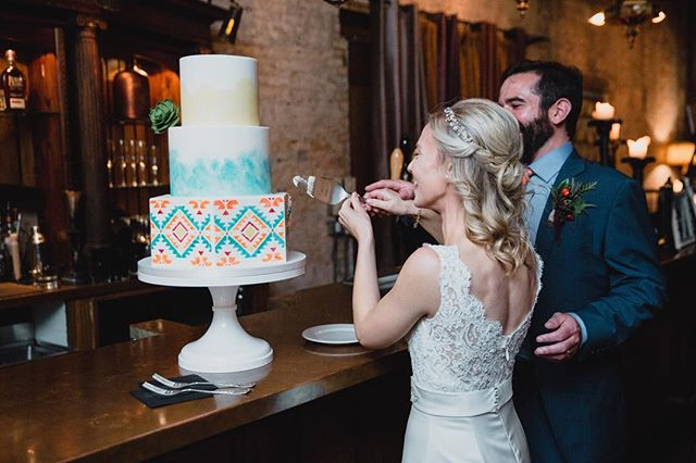 """Shortly after our initial meeting, I had second thoughts about the design, and Heather rolled with it to help me narrow down exactly what I wanted. She was personable and made us feel like our cake was special. The end result was so beautiful that our guests thought it was fake until they tasted it, and then they raved about how good it was. When I first saw our cake at the venue my mouth fell open. It looked exactly like the design!"" ⠀⠀⠀⠀⠀⠀⠀⠀⠀ 📷 @cadenceandeli 📝 @breisfun ⛪ @astercafe ⠀⠀⠀⠀⠀⠀⠀⠀⠀ #enticingicingweddings #sugarartist #cakeartist #minneapoliswedding #minnesotawedding #mplsweddingcakes #mplsweddingbakery #mpls #mplsart #mplsartist #edibleart #sugarart #theknotweddings #theknotcakes #mnbride #mnbridecakes #minnesotabride #luxuryweddingcakes #luxurycakes #customcakes #customweddingcakes #fondantcakes #paintedcake #americansouthwest #nativeamericanprint #watercolorcake #sugarflowers #cakecutting #justmarried"