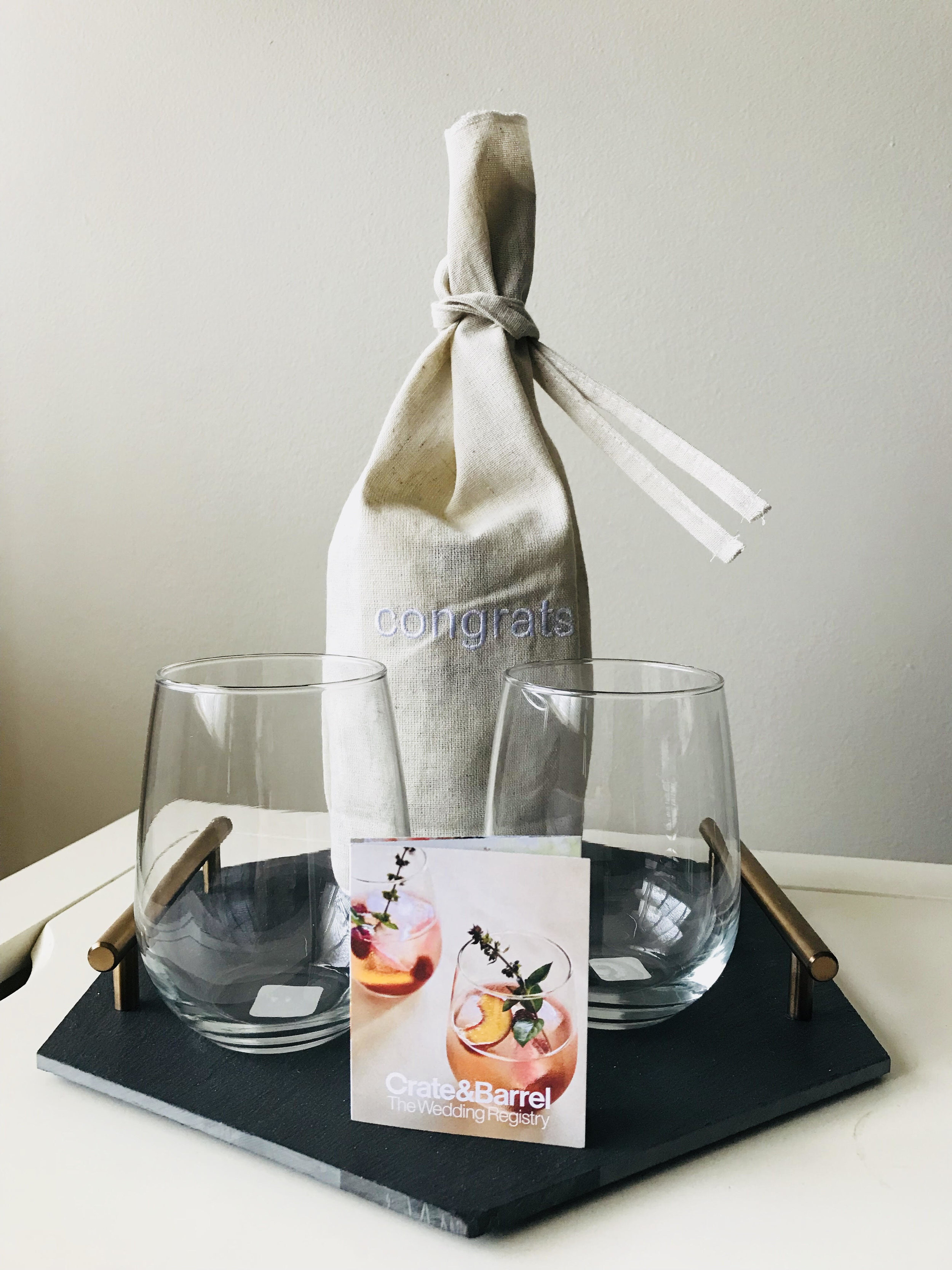 1. Wedding Registry Event - Adam & I went to the Crate & Barrel Wedding Registry Event - a free event where store associates help you choose practical items for your registry. They even gave each couple a gift of two free C&B stemless wine glasses as a thanks for coming!