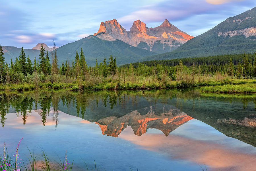 three-sisters-reflection-in-policemans-creek-in-canmore-alberta-purvesh-trivedi.jpg