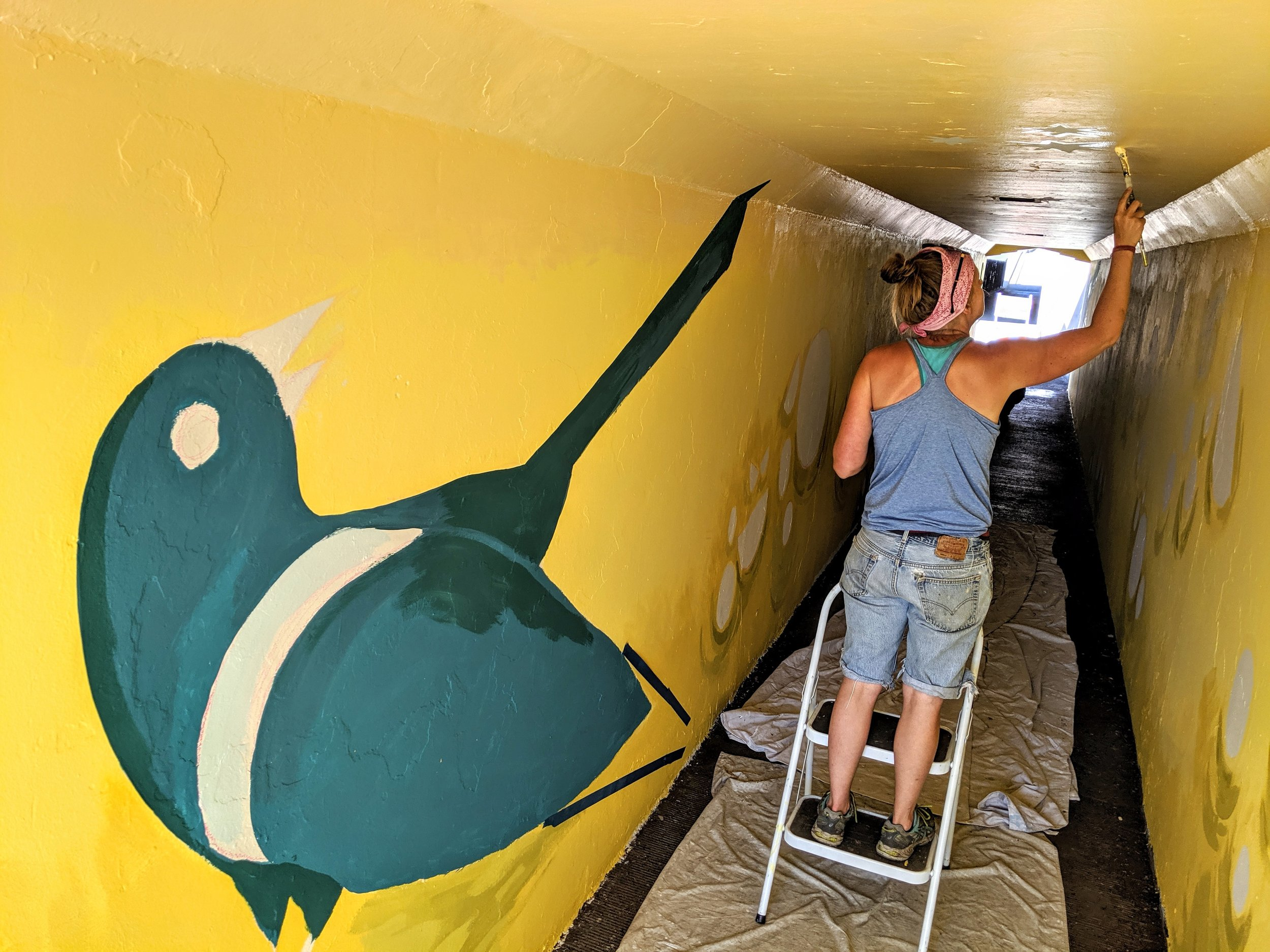 Creating A Public Artway - Local artist and BCD resident Kaycee Anseth is designing a phased approach to creating a public art way within the Franklin underpass.