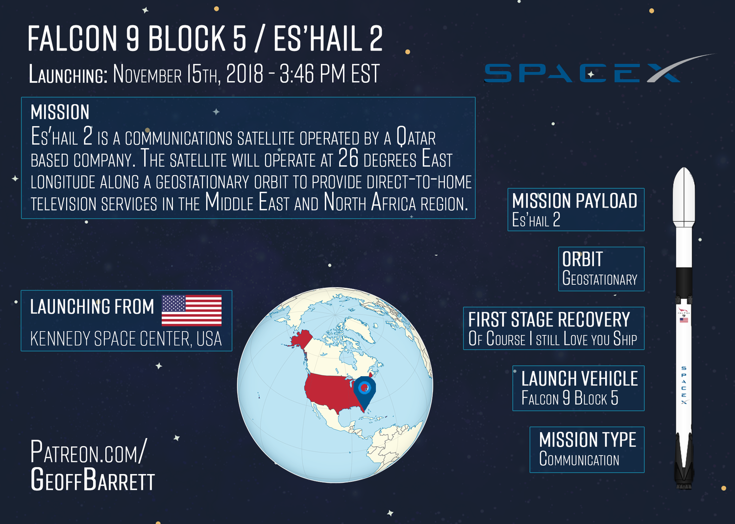Falcon 9 Block 5 / Es'Hail 2