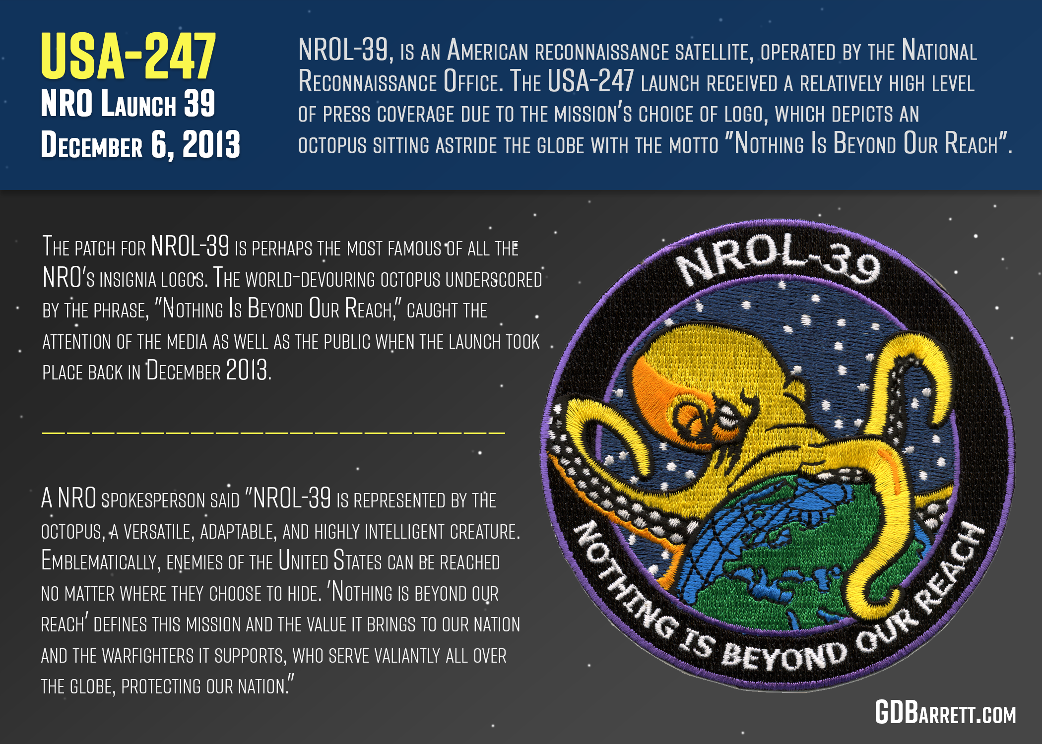 "NROL-39 ""Nothing is beyond our reach"""