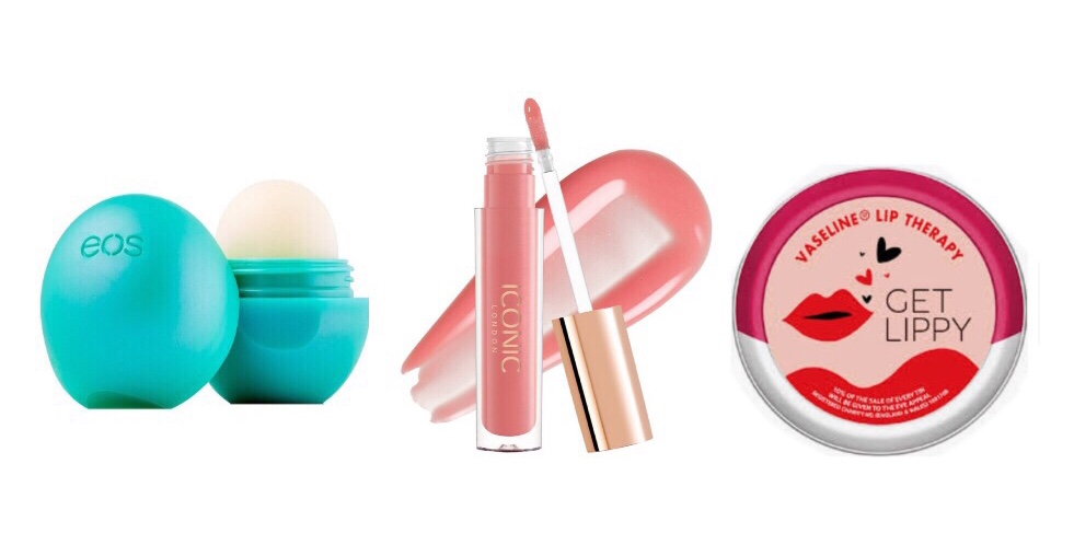 EOS lip balm, £6.50  lookfantastic.com , Iconic London lip gloss, £19  iconiclondoninc.com , Vaesline Rosy Lips, £1.85  tesco.com