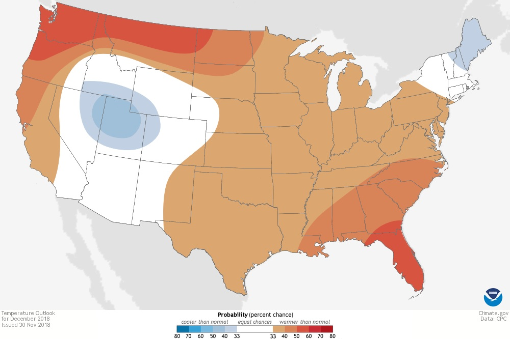 "NOAA's Temperature outlook for December 2018 with majority of US highlighted in ""warmer than normal"" conditions"