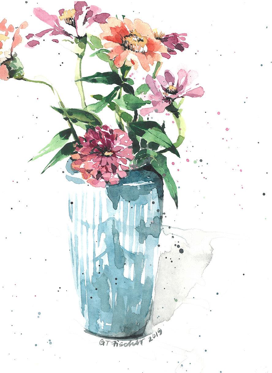 Zinnias in Blue Vase