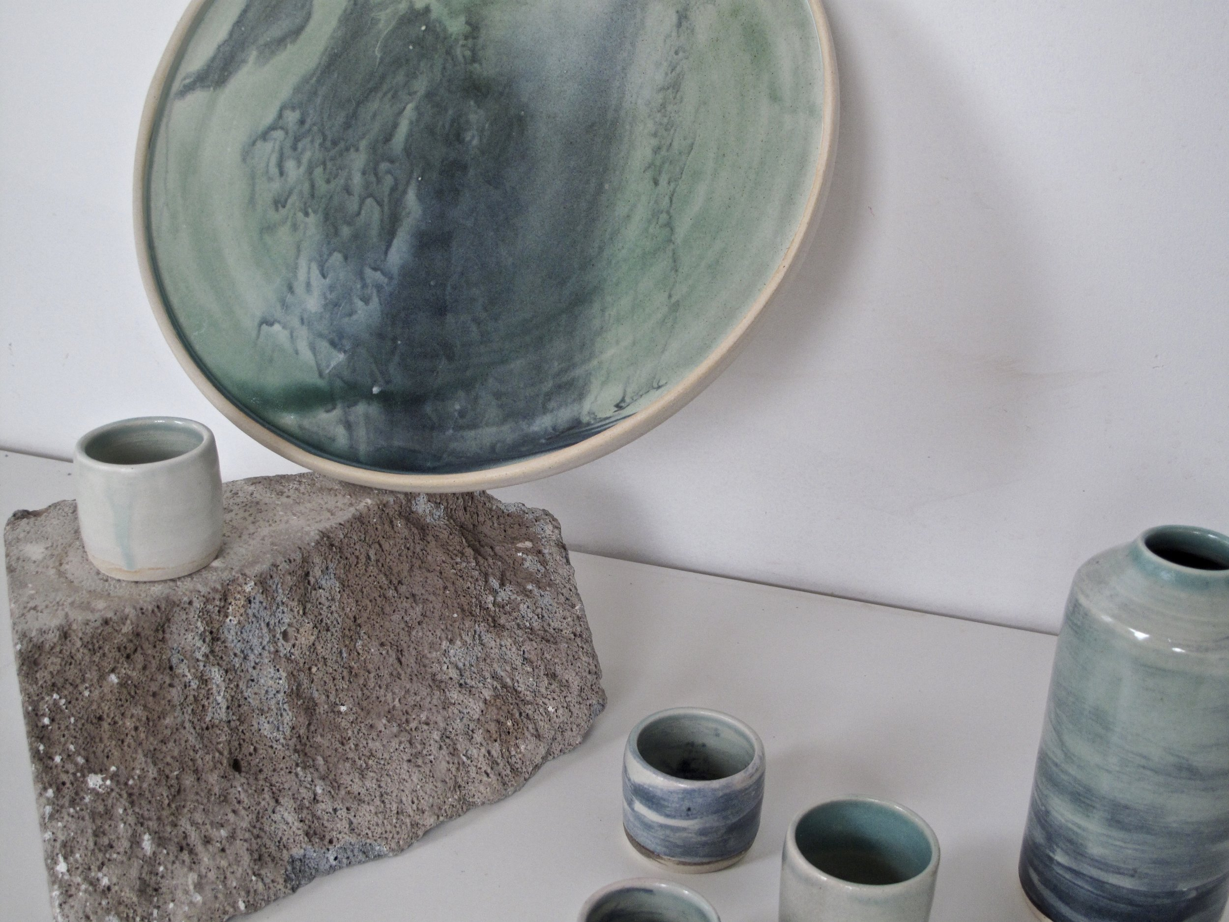 Marbled Sake Set  | Platter + Bottle + Cups | £86