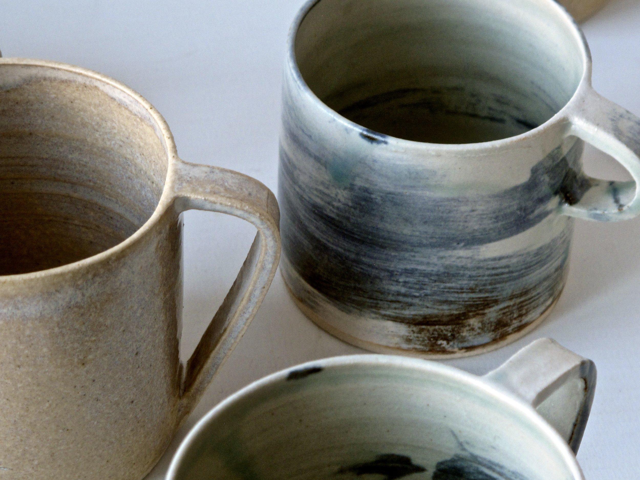 Mugs    Tea  | £28 | ⌀8.5cm H8cm   Americano  | £24 | ⌀7.5cm H7cm   Espresso  | £18 | ⌀7cm H6cm approx. Choice of small or long handle.
