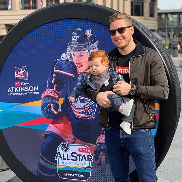 Cute Baby: Declan. All-Star: Cam Atkinson. Color Block Tee: Humble Hockey. | Congrats on the 2019 #NHLAllStar game selection and great performance! 🙌🏻👍🏻🤙🏻
