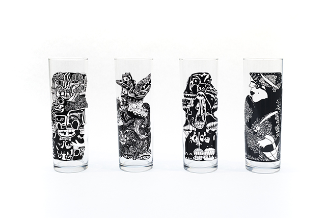 Set of four highball glasses featuring designs by Creative Growth artist  Dinah Shapiro