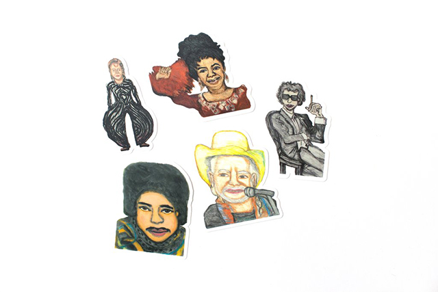 Sticker Pack featuring 5 die-cut stickers based on drawings of some of  Kim Clark 's favorite musicians: David Bowie, Prince, Aretha Franklin, Bob Dylan, and Willie Nelson