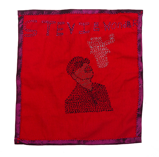 Zina Hall, Untitled (ZH 026), 2019, embroidered textile, 14 x 15 inches