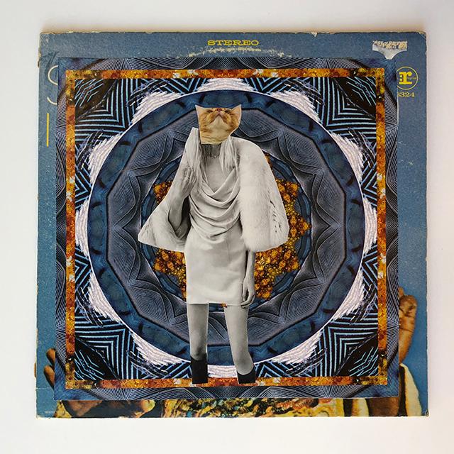 John Hiltunen, Untitled, 2018, Collage on found album cover