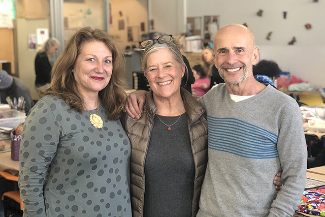 Elizabeth Brodersen, the next Executive Director of Creative Growth, with Jane Timberlake, Board President, and Tom di Maria, Director of External Relations
