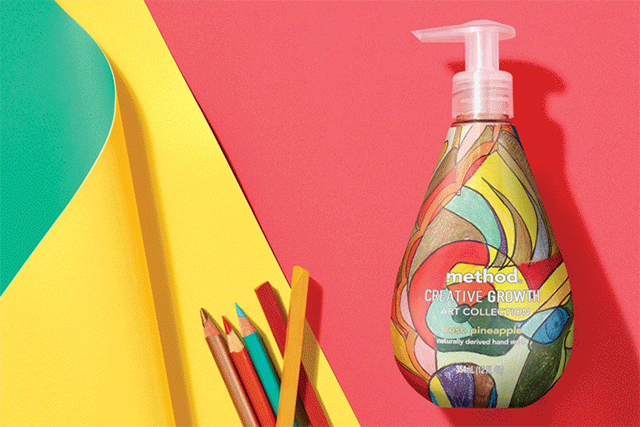 Hand wash bottle designed by Cedric Johnson for Method's Creative Growth Art Collection Photo: Courtesy of Method