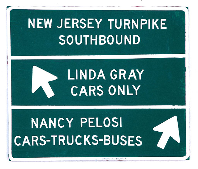 """Danny Thach,"""" Untitled (Highway Sign)"""" (2019) acrylic on board mounted on wooden frame, 30 x 30 unique 2019"""