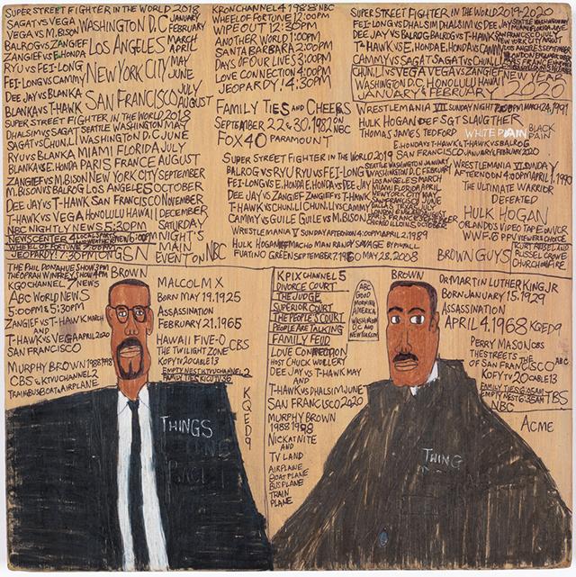 "Daniel Green, ""Malcolm X Born 1925 Assassination 1965 Gunshot. Martin Luther King Jr Born 1929 Assassination 1968 Gunshot"" (2018) mixed media on wood, 12 x 12 x .75 inches"