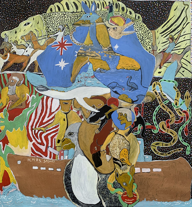 John Prince Siddon (Mangkaja), Australia – All Mixed Up, Acrylic on canvas, 47.2 x 47.2 inches (120 x 120 cm)