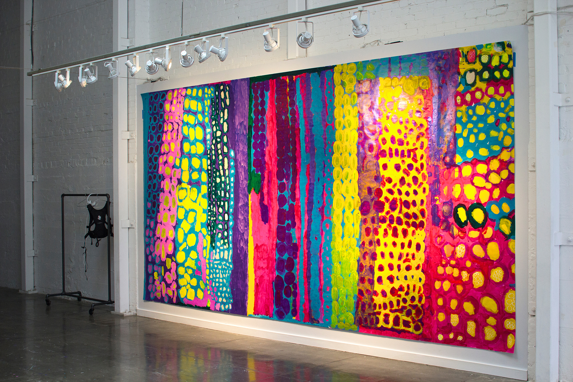 Barry Regan, Untitled, Acrylic on paper installation, 108 x 307 inches