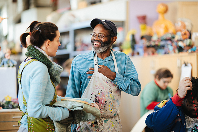 Volunteer - Volunteers play an integral role at Creative Growth in providing important support for staff and artists, aiding the smooth operation of our Studio and Gallery. We accept volunteer applications four times a year during the months of March, June, September, and December. To fill out a volunteer application or for more information, click the button below.