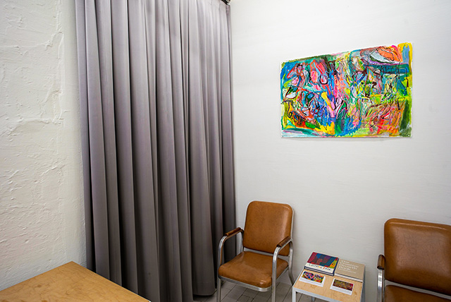 """Installation of """"Colors, Gestures, Marks and Lines – Works by Joseph Alef and Maureen Clay"""" at 6397, New York. Image courtesy 6397."""